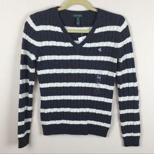 LRL - LAUREN Ralph Lauren - Striped V-Neck Sweater